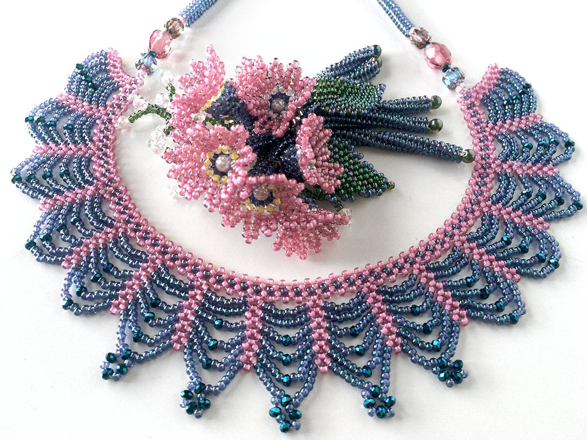 ピンク&ブルーバイオレットのアクセサリーセット