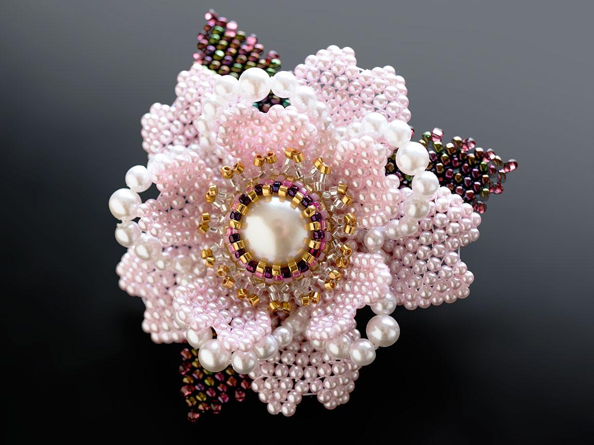 パールの桜ミニブローチ