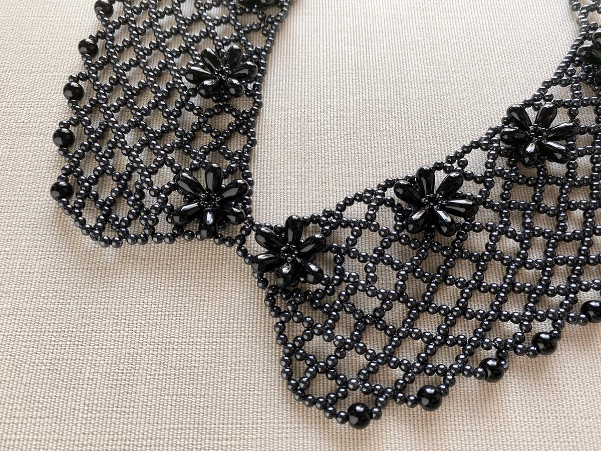 黒パールの付け襟ビーズネックレス