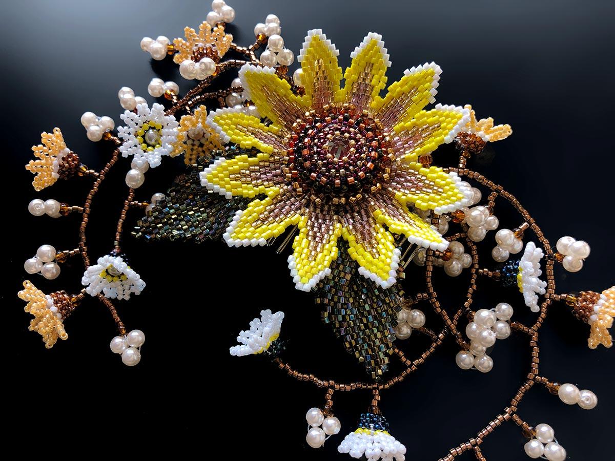 向日葵と小花のじゃらじゃらコーム
